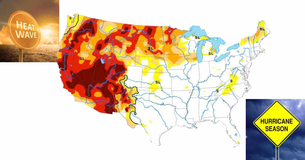 Image shows drought conditions in the western and north central U.S.